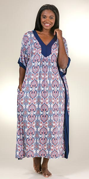 Rayon Ellen Tracy Long V-Neck Caftan in Liberty
