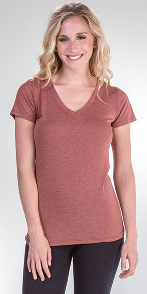 Cap Sleeve Nostalgia V-Neck Viscose Blend Tee in Clay