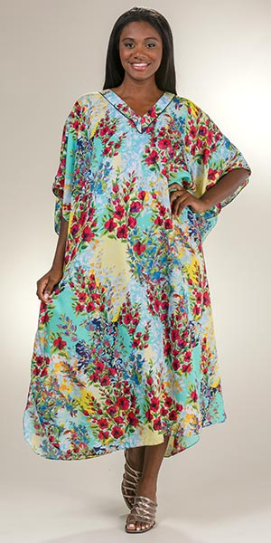 Winlar One Size Polyester Long Caftan Loungers in Ruby Vista