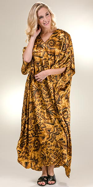 Plus Size Satin Charmeuse Winlar Caftan in Caramel Safari