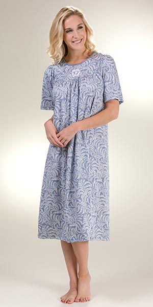 Calida Short Sleeve Nightgown - Cotton Knit in Blue Arbor