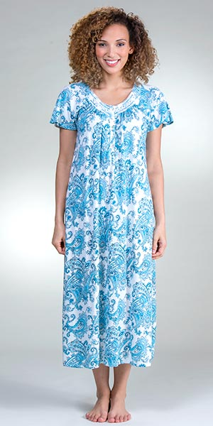 Long Aria Poly/Rayon Short Sleeve Nightgown in Turquoise Paisley