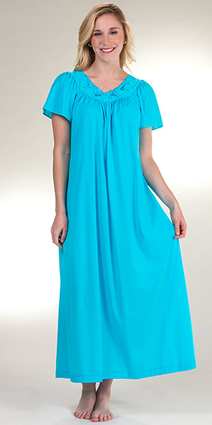 Plus Shadowline Petals Long Gown - Flutter Sleeve Nightgown in Turquoise