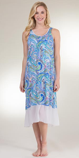 Plus Ellen Tracy Long Rayon Sleeveless Nightgown in Abstract Wonder