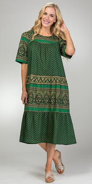 La Cera Muu Muu - Short Sleeve Cotton Mid Dress in Forest Grove