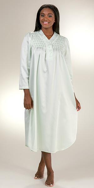 Miss Elaine Brushed Back Satin - Long Smocked V-Neck Nightgown in Sage
