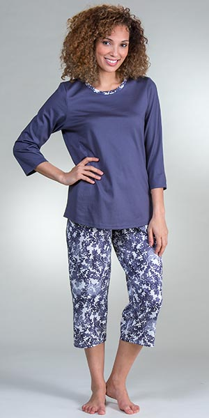 Pajamas by Calida - 3/4 Sleeve Capri Length Cotton Knit Set in Mystic Slate