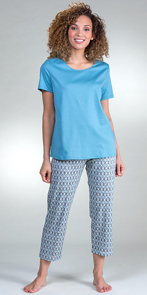 Calida Short Sleeve Cotton Knit Capri Length Pajama Set in Tiffany Mosaic