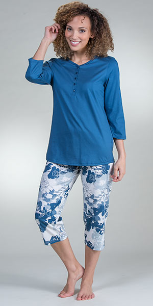 Calida Pajamas - 3/4 Sleeve 100% Cotton Knit Capri PJs in French Blue
