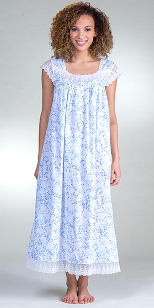 Eileen West Cotton Cap Sleeve Long Nightgown in Floral Darling