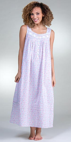 Sleeveless Eileen West Cotton Lawn Long Nightgown in Floral Duchess