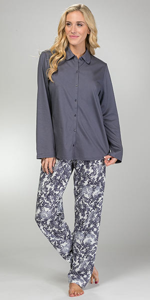 Calida Long Sleeve Cardigan Cotton Knit Pajama Set in Mystic Slate