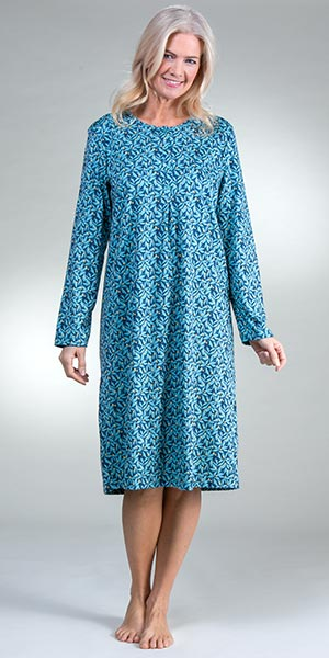 Calida Button Front Cotton Knit Long Sleeve Nightgown in Blue Lily