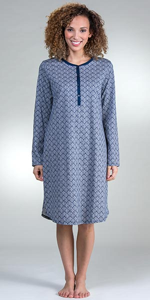 Calida Cotton Night Shirts - Long Sleeve Button-Front Nightgown in Night Shadow