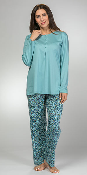 100% Cotton Knit Pajamas - Calida Long Sleeve Printed Set in Blue Lily