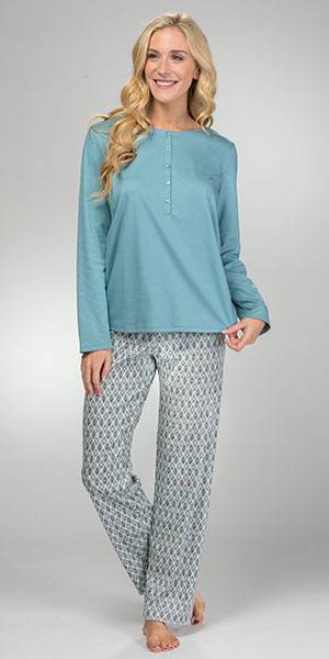 Long Sleeve Calida Cotton Knit Long Length Button Front Pajamas - Tiffany Mosaic