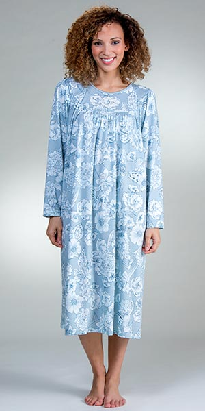 Calida Cotton Nightgowns - Long Sleeve Knit Gown in Summer Blue