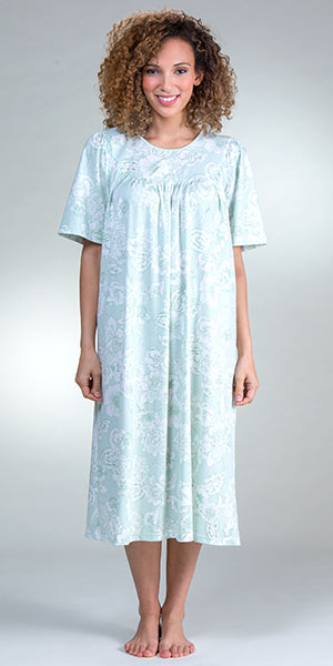 Cotton Knit Calida Short Sleeve Nightgown in Green Lily