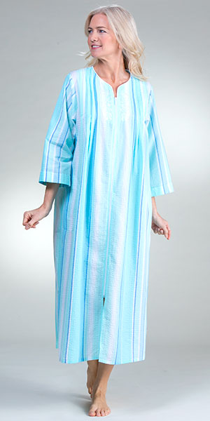 Long Seersucker Robes - Miss Elaine Zip Front in Aqua Blue Stripe
