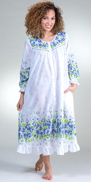 Long Cotton Robe - La Cera Button Front Nightgown in Wildflower Bleu