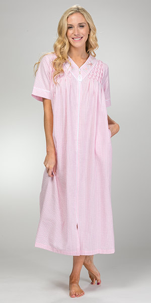 Plus Seersucker Robes - Miss Elaine Long Zip Front Smocked Robe in Peach Check