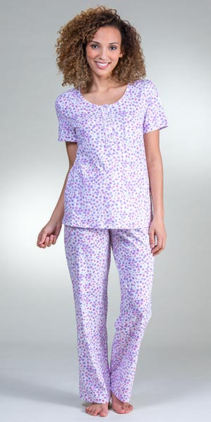 Carole Hochman Cotton Knit Short Sleeve Pajamas in Berry Buds