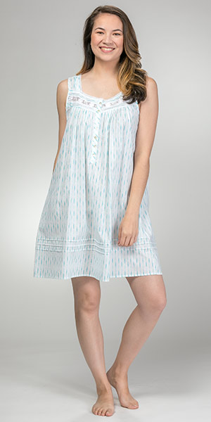 Eileen West Sleeveless Short Cotton Lawn Nightgown in Mint Swizzle
