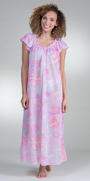 100% Nylon Miss Elaine Flutter Sleeve Long Nightgown in Watercolor Pink