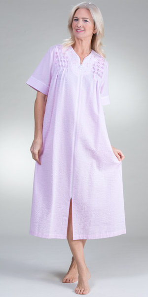 Miss Elaine Plus Robes - Long Smocked Zip Front Seersucker in Pink Stripe
