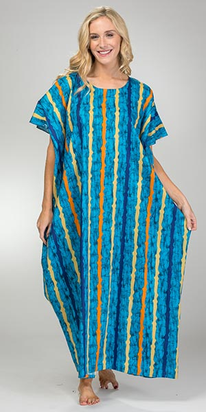 One Size Plus Long Cotton Kaftans in Blueberry Stripe