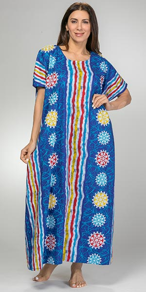 One Size Caftans - 100% Cotton Long Kaftan in Indigo Beach