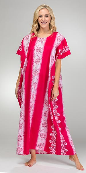 One Size 100% Cotton Long Kaftan in Pink Floral