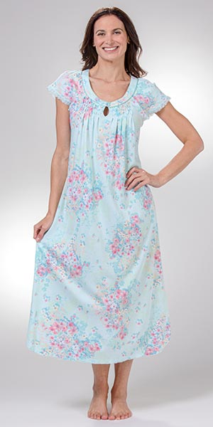 Miss Elaine Long Nightgown - Cotton Blend Flutter Sleeve Gown in Aqua Bouquet