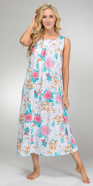 Carole Hochman Sleeveless Long Cotton Knit Nightgown in Painted Floral