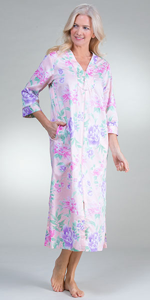 Long Miss Elaine Zip Front Cotton Robe in Airbrushed Pastels