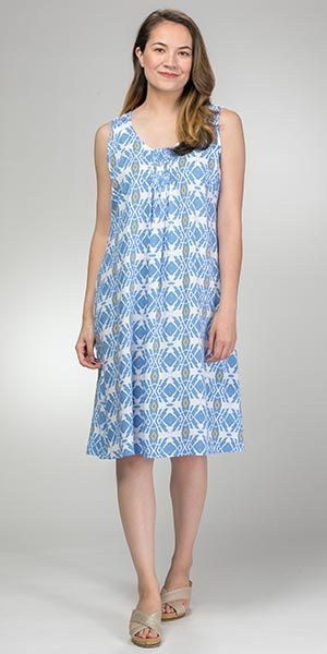 Blue Water Sleeveless Sundress - Rayon Dress in Diamond Waters