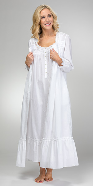 Peignoir Set by Eileen West - Cotton Sleeveless Gown and Robe in White Wonderland