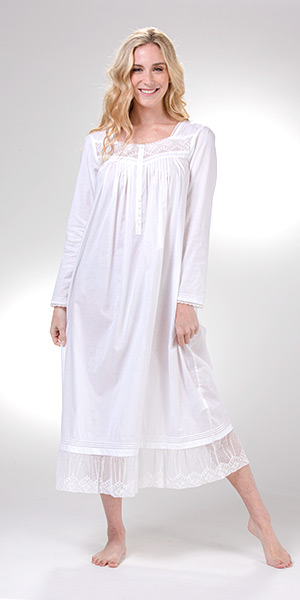 Eileen West Long Sleeve Cotton Lawn Nightgown in White Baroque
