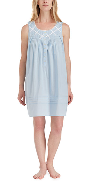 Eileen West Nightgowns - Short Cotton Lawn Sleeveless in Blue Inspiration