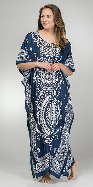 Sante One Size Microfiber Long Kaftan in Dazzling Navy