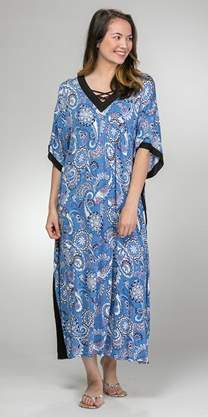 Women's Caftans - Rayon Long V-Neck Caftan by Ellen Tracy in Paisley Floral