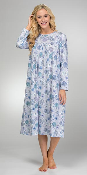 Calida Sleepwear - Long Sleeve Cotton Knit Nightgown in Heather Floral