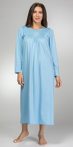 Calida Cotton Nightgowns - Long Sleeve Knit in Placid Blue or Rose Wine