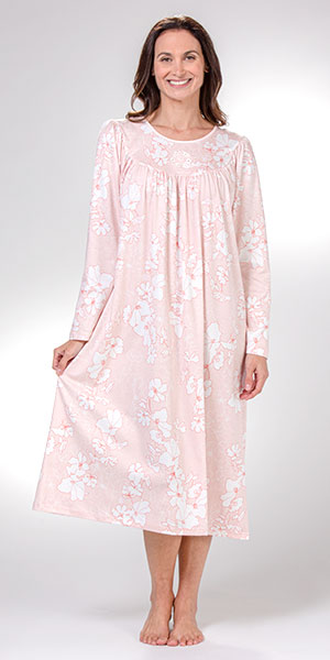Calida Long Sleeve Nightgowns - Cotton Knit in Rose Water