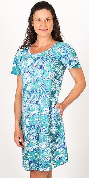 Blue Water Short Sleeve Rayon Sun Dress in Teal Serenity