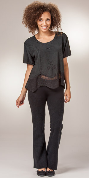 Women's Top - Short Sleeve One Size Rayon Embroidered Blouse - Black