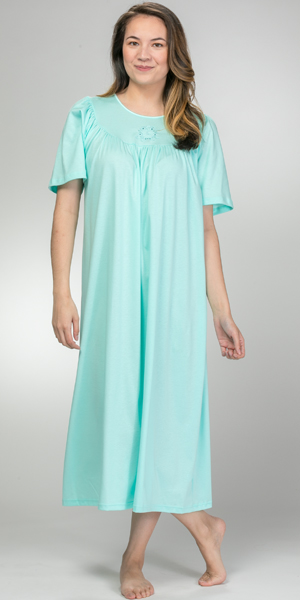 Calida 100% Cotton Knit Short Sleeve Nightgown in Mint