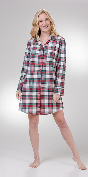 KayAnna Long Sleeve Flannel Button Down Nightshirt in Scottish Plaid
