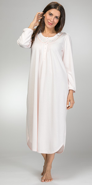 Round Neck Miss Elaine Cuddleknit Long Pintucked Nightgown in Peach