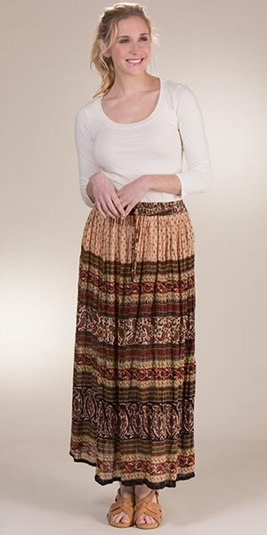 Belma 100% Crinkle Rayon Printed One Size Skirts in Harvest